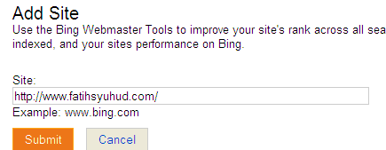 Add website to Bing Sitemap Center