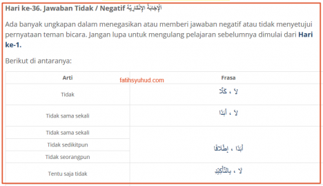 36. Jawaban Tidak Setuju dalam Bahasa Arab