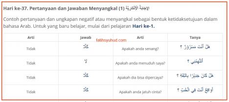 37. Pertanyaan dan Jawaban Menyangkal dalam bahasa Arab