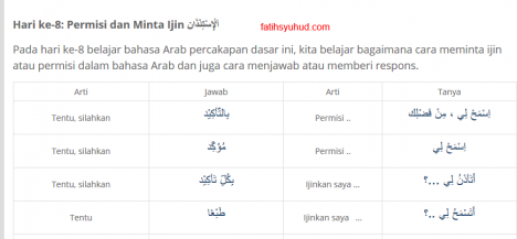 Cara Permisi dan Meminta Ijin dalam Bahasa Arab