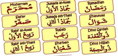 Nama Bulan Hijriyah Bahasa Arab