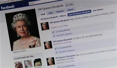 The Facebook page of Britain's Queen Elizabeth